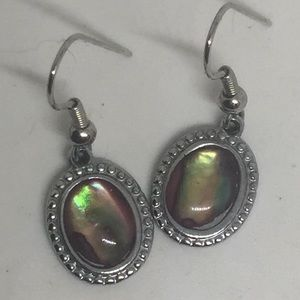 Abalone Mother Of Pearl Earrings Silver Tone